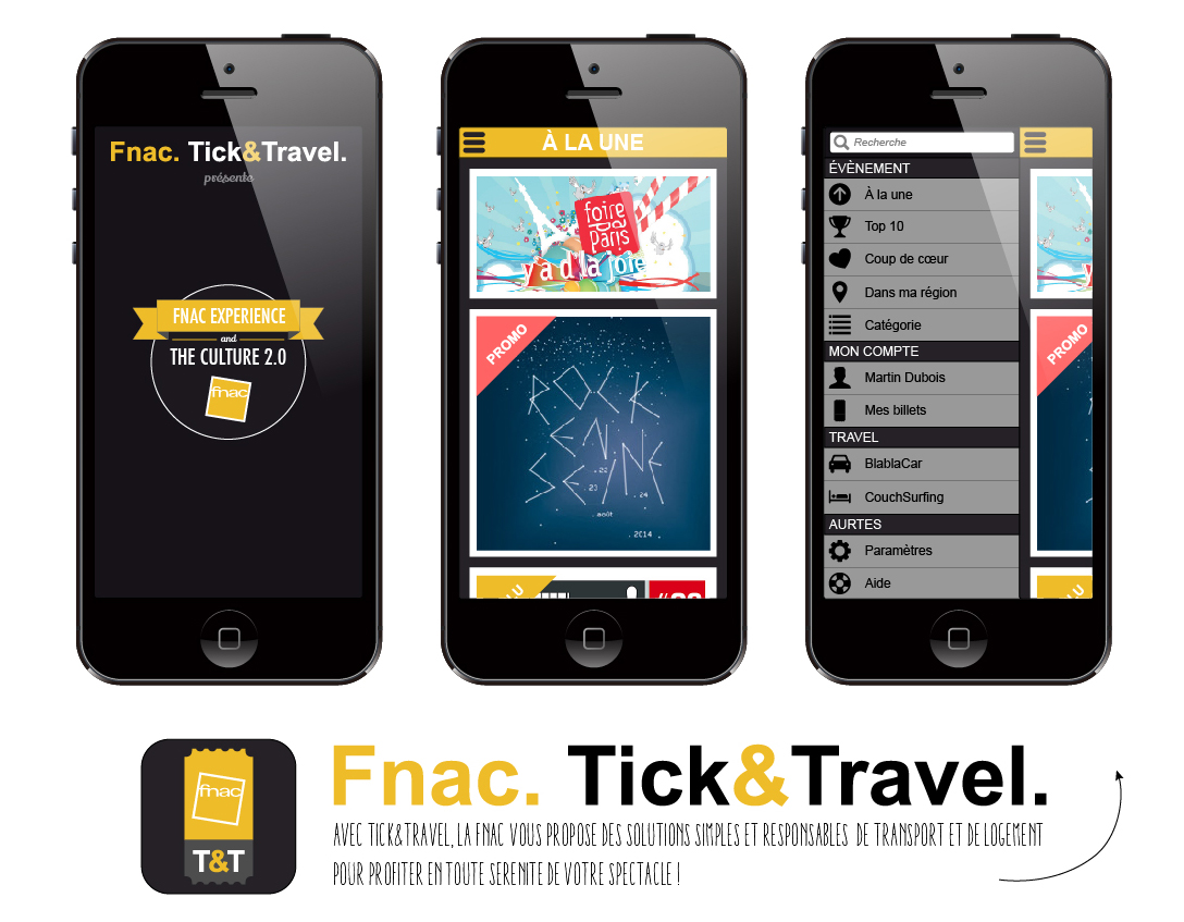 Jope Design - FNAC TICK&TRAVEL - Application mobile